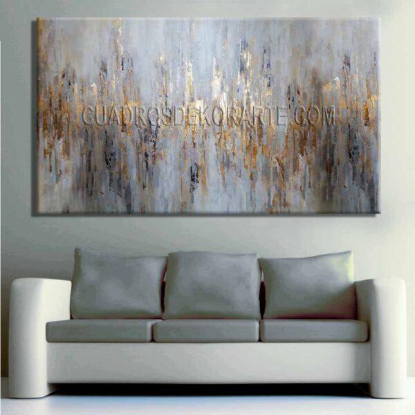 Cuadros modernos para sala Reflexión Gris gris dorado