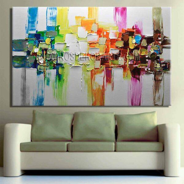 Pinturas abstractas Fósil para sala colores acua y plata