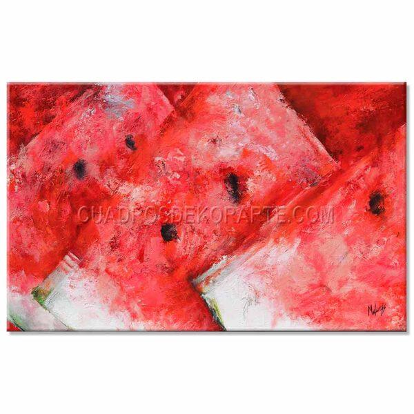 cuadros decorativos sandias en tonos rojos y blancos