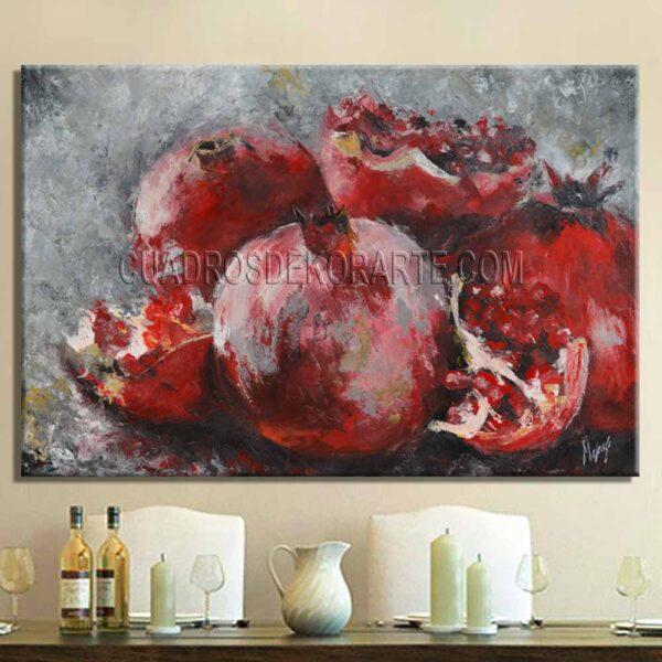 Cuadros decorativos para comedor Granadas estilo impresionista en color gris y rojo
