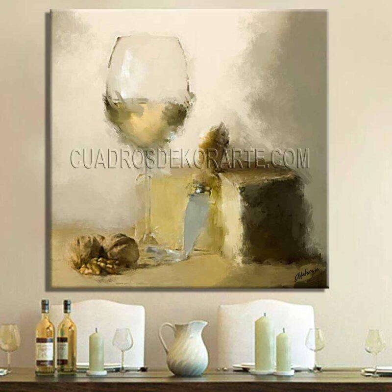 Pinturas impresionistas para comedor bodegón 1 en color gris y ocre