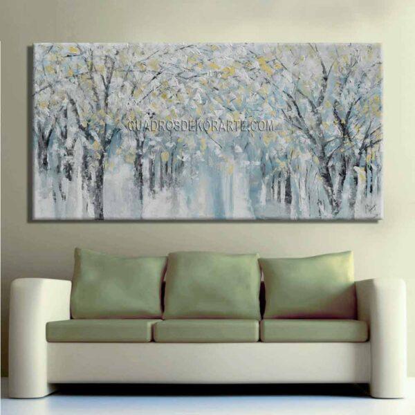 cuadros decorativos para sala pintura arboledas 2 colores azul, gris y ocre