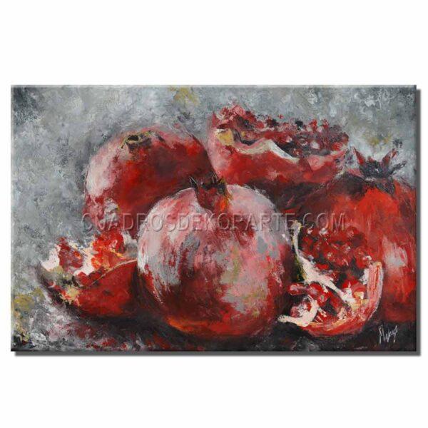 Cuadros decorativos estilo impresionista Granadas en colores gris y rojo