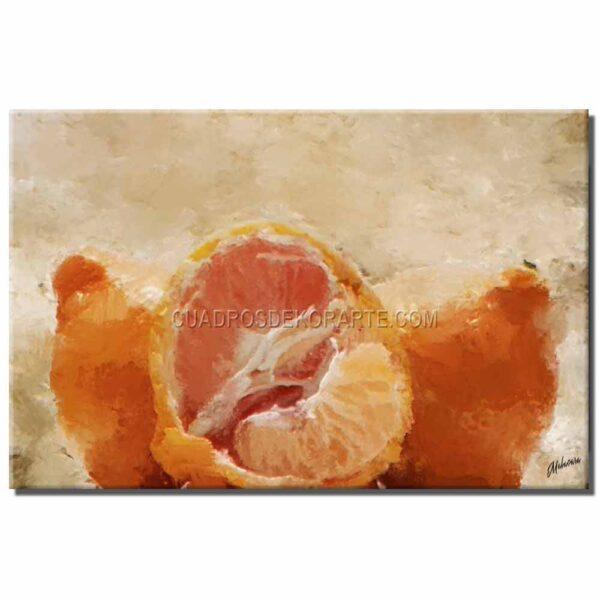 cuadros decorativos naranjas estilo impresionista en colores naranja y beige