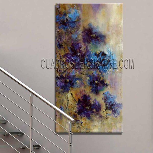 Pinturas impresionistas para escaleras Flores Azules 2 colores ocre azul y blanco