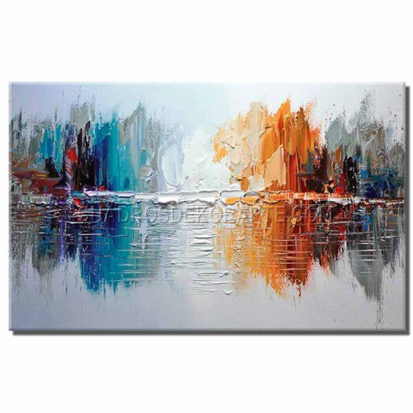 pinturas abstractas arboleda colores en tonos gris, azul, rojo y naranja.