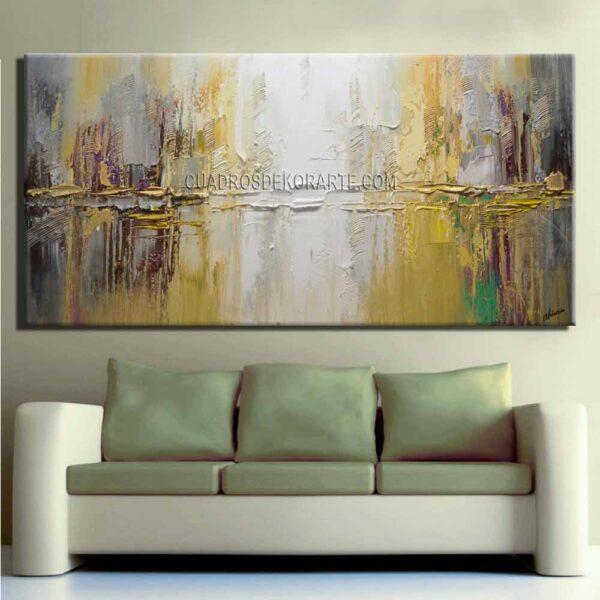 pinturas abstractas para sala reflejo citadino 2 en colores gris, blanco y amarillo