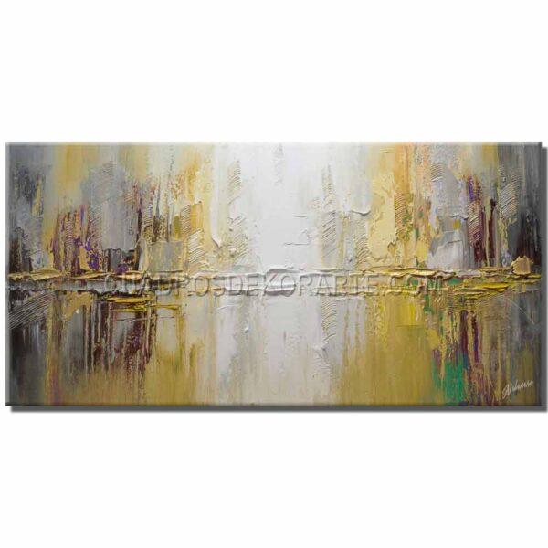 pinturas abstractas reflejo citadino 2 en colores gris, blanco y amarillo