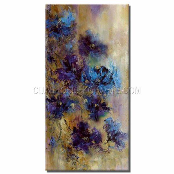 pinturas impresionistas Flores Azules 2 colores ocre azul y blanco
