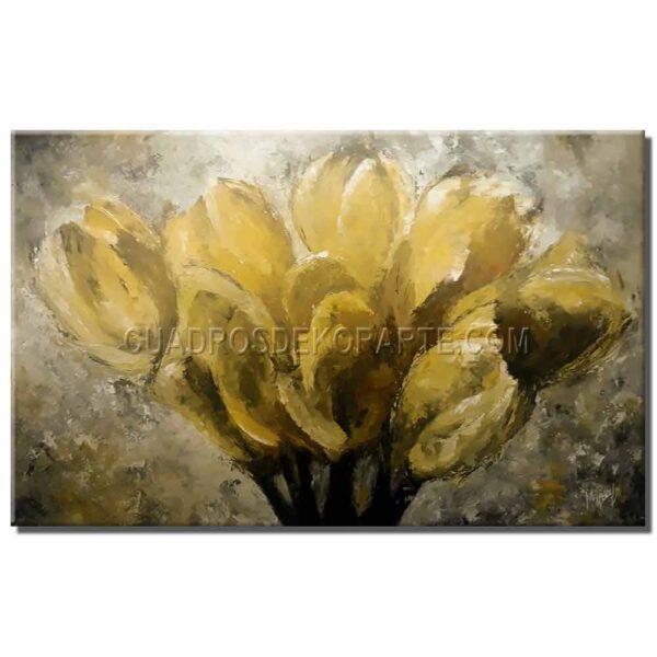 pinturas impresionistas Tulipanes colores gris y amarillo