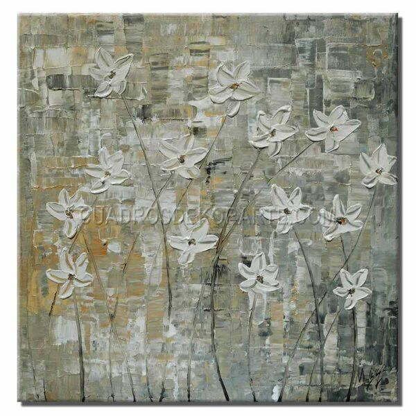 cuadros decorativos ramillete de flores colores blanco y azul