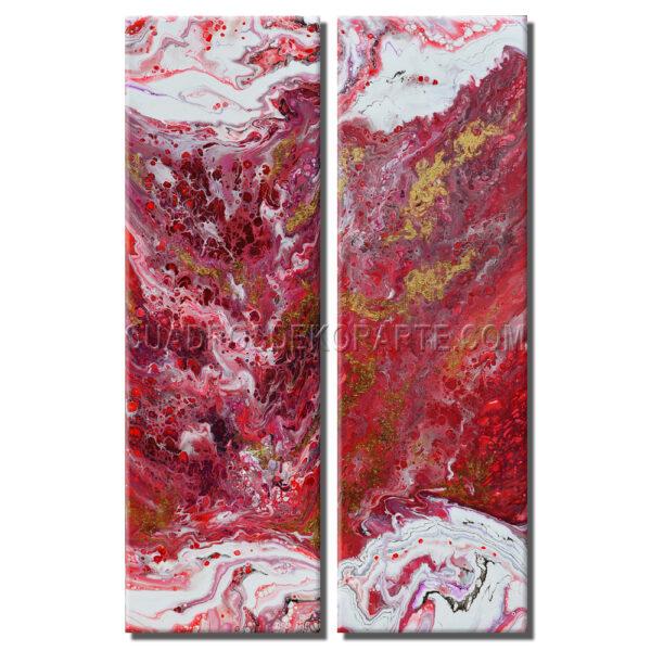 Cuadros decorativos rojo real díptico en colores rojo y blanco
