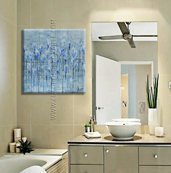 cuadros decorativos para baño Campo de flores azules decoración gris y azul