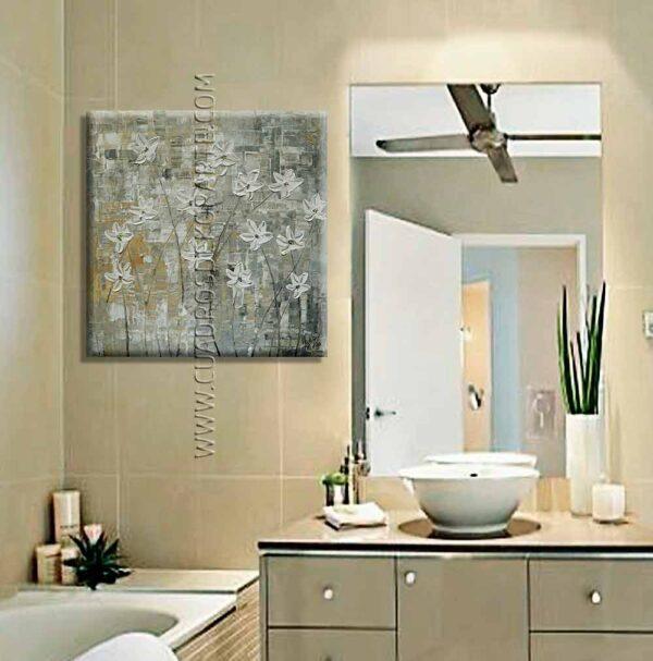 Cuadros para baño Ramillete de flores decoración ocre y gris