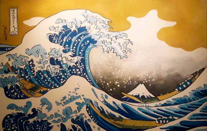 Réplica de la gran ola de kanagawa pintado a mano en acrílico en medida de 90x60cm.