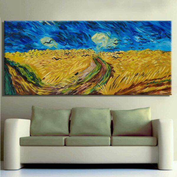 Cuadro para sala trigal con cuervos de Vincent Van Gogh réplica pintada a mano en medida de 180x80cm.