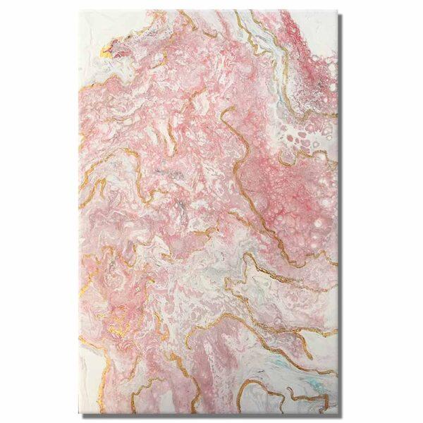 Cuadros decorativos abstractos Mármol 2 en colores blanco y rosa.