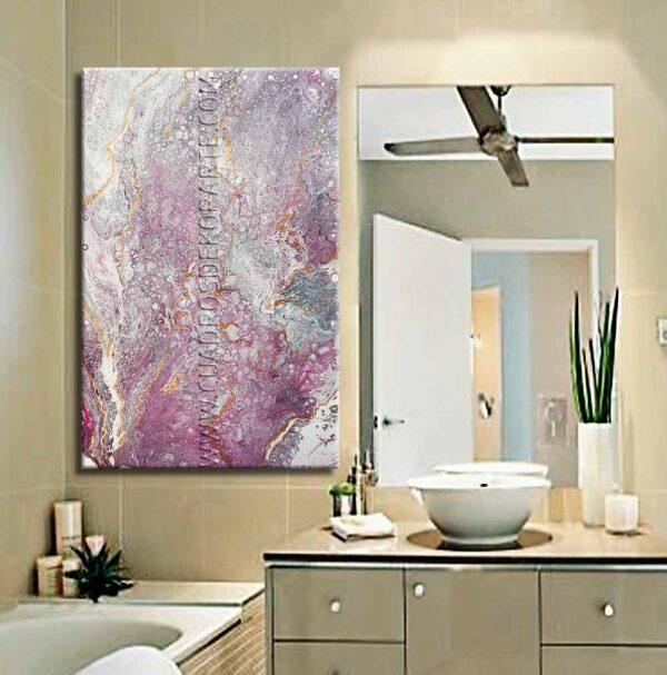 Cuadro para baño modelo marmol 1 en colores malva , blanco y azul