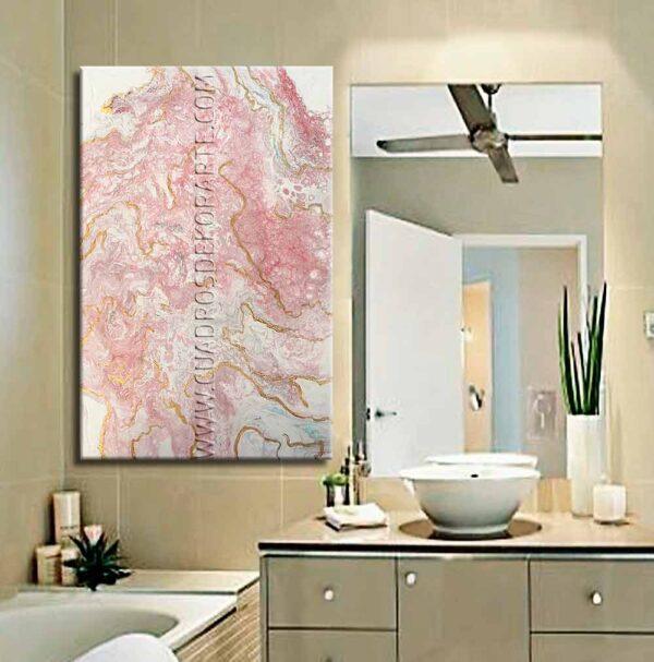 Cuadro para baño modelo marmol 2 en colores rosa y blanco