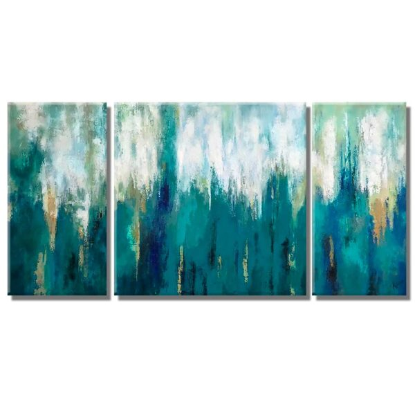 cuadros decorativos Metamorfosis triptico en medida de 160x80cm. pintado a mano estilo abstracto