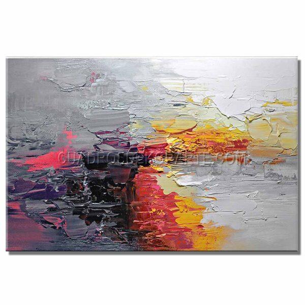 cuadros abstractos fuego colores rojo y gris