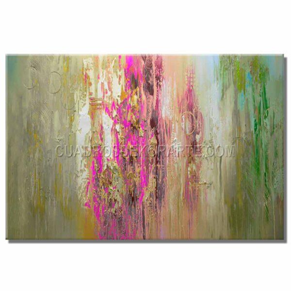 cuadros abstractos Lavanda colores gris, rosa y verde