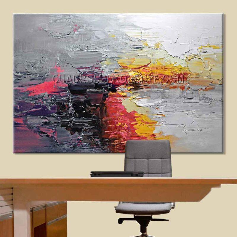 Pinturas abstractas para oficina Fuego colores rojo y gris