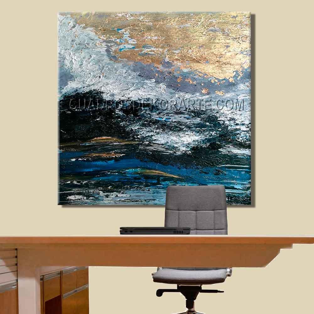 Pinturas abstractas para oficina silver dollar colores gris, plata, azul y negro