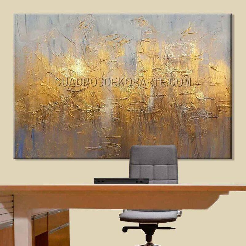 Pinturas abstractas para oficina Pentxid colores gris y dorado