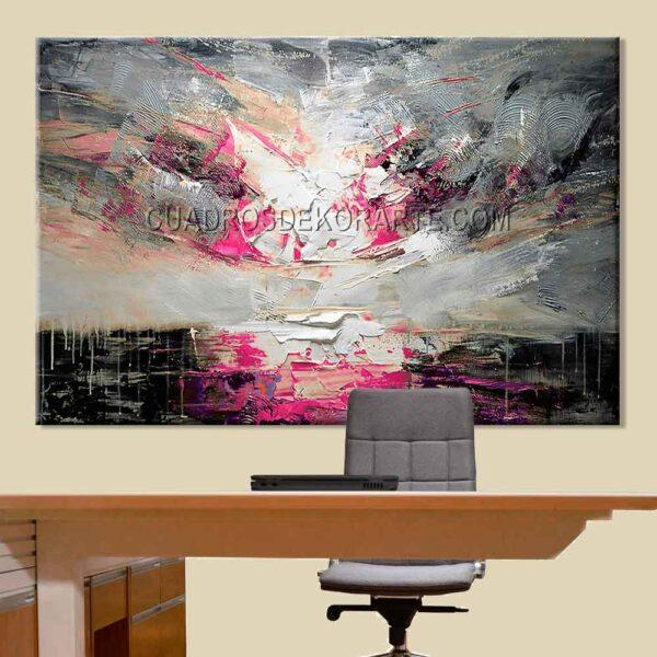 Pinturas abstractas para oficina Sol colores negro, magenta y gris