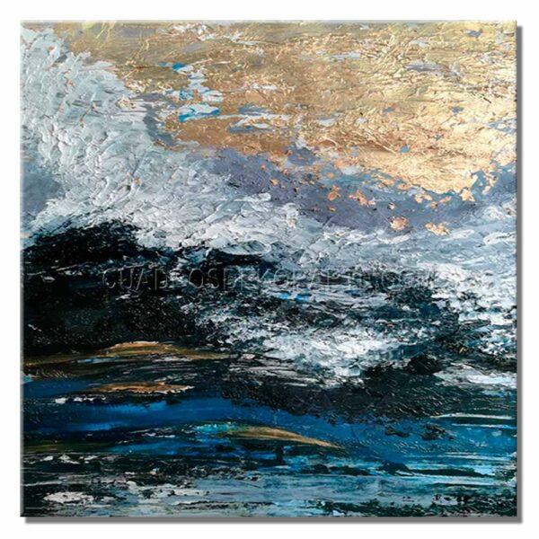 Pinturas abstractas silver dollar en colores gris, plata, azul y negro