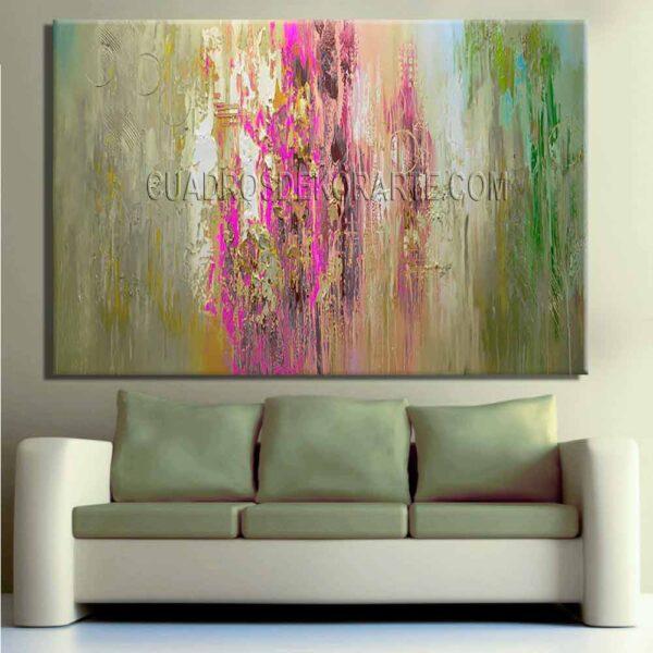 Pinturas abstractas para sala Lavanda colores gris, rosa y verde
