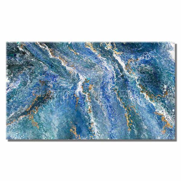 Cuadros decorativos Blue abstracto elaborado en acrílico fluido