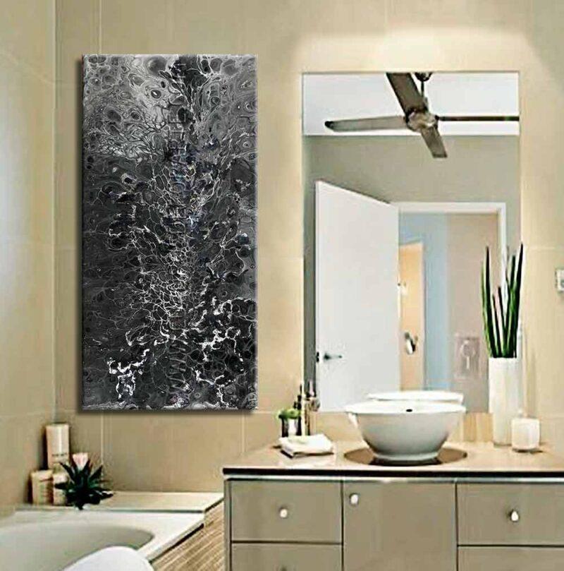 Pinturas abstractas Ondas 1 colores negro y gris