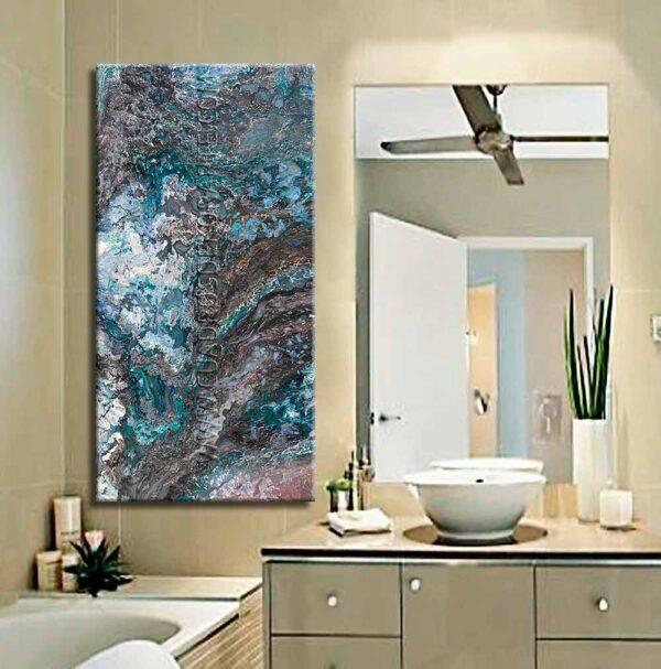 Cuadros para baño Rivera colores verde, gris y negro