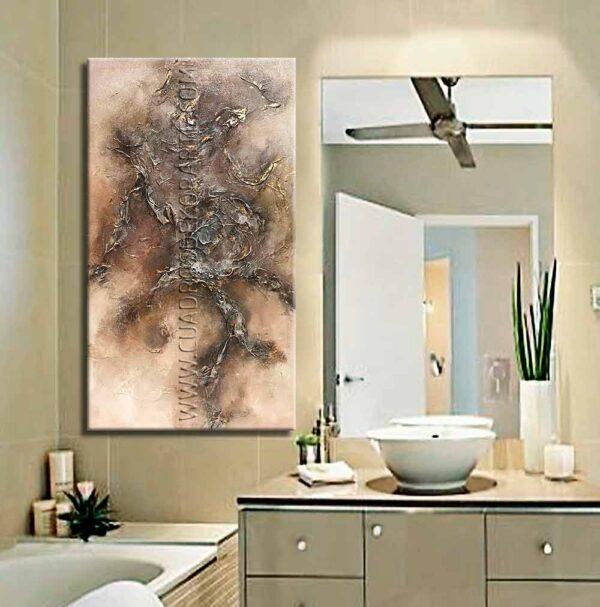 Cuadro para baño Reflex 1 decoración ocre y gris
