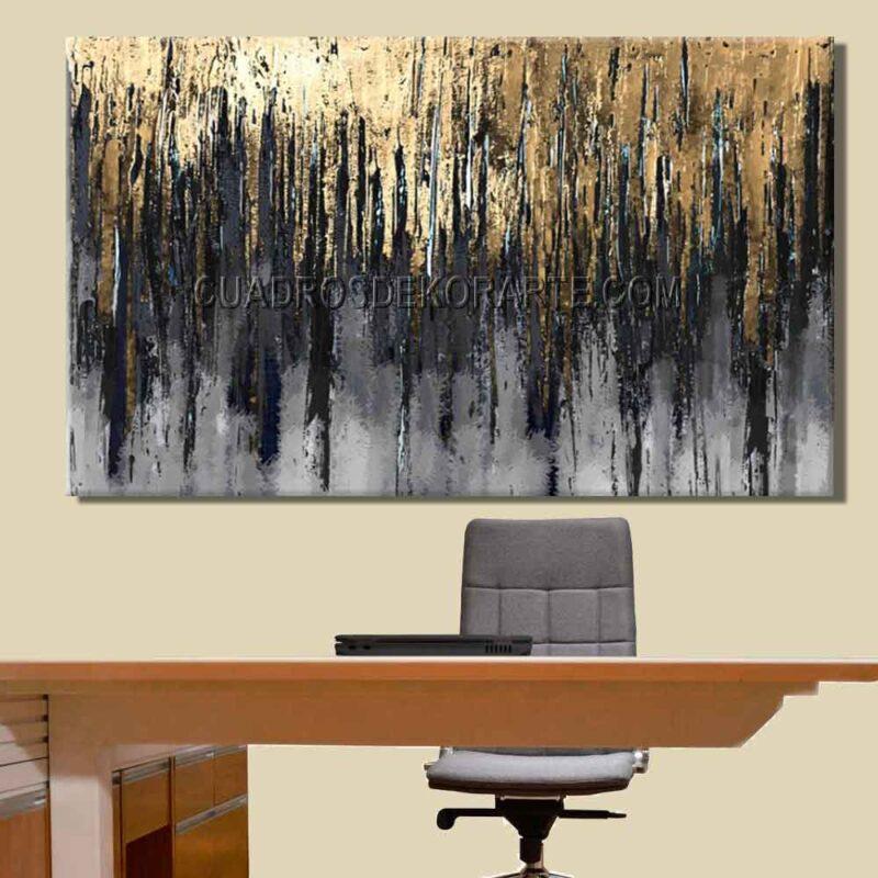 Pinturas abstractas para oficina elección colores gris, negro y dorado