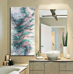 Cuadros decorativos para baño Dualidad Verde colores verde, lila y blanco