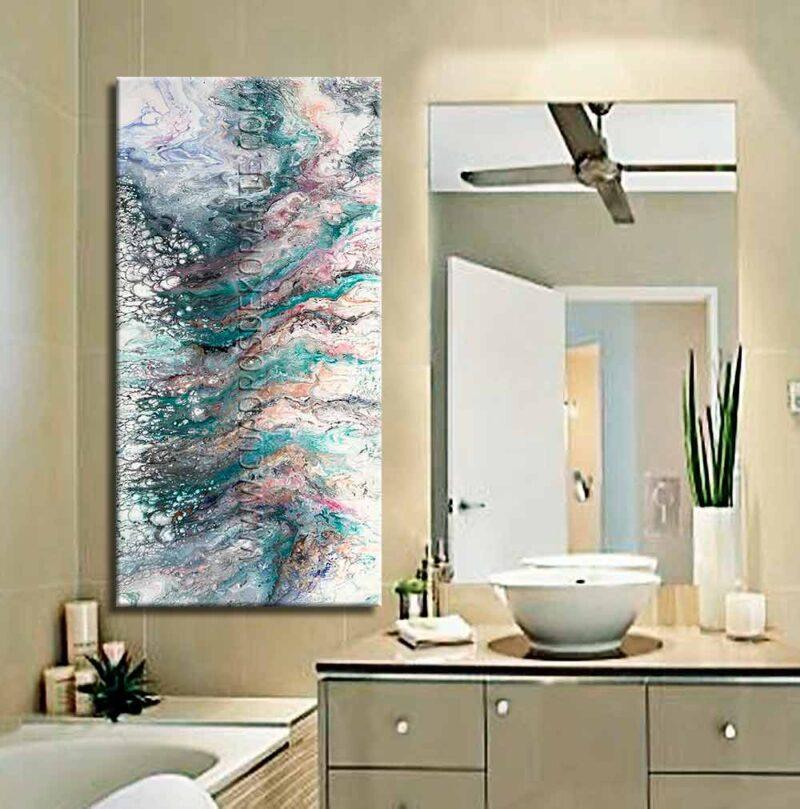 Pinturas abstractas para baño Dualidad Verde colores verde, lila y blanco