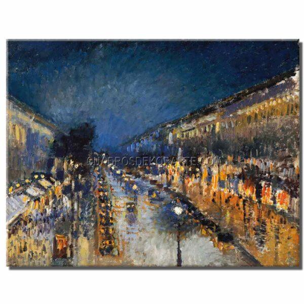 Cuadro Boulevard Montmartre de noche Camille Pissarro copia pintada a mano
