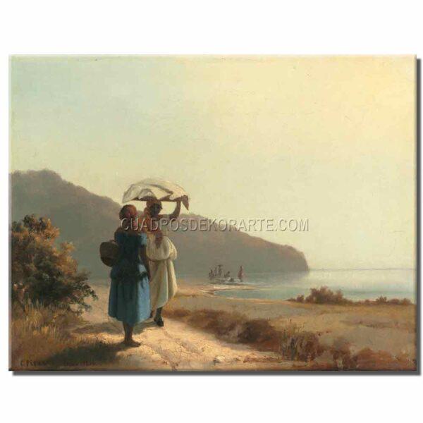 Cuadro Dos mujeres conversando junto al mar Camille Pissarro copia pintada a mano