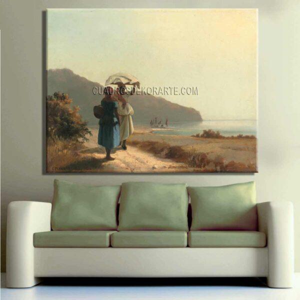 Copia de la pintura Dos mujeres conversando junto al mar cuadro decorativo