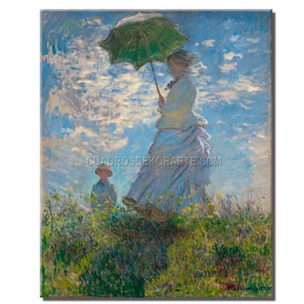 Cuadro Mujer con sombrilla Claude Monet copia pintada a mano