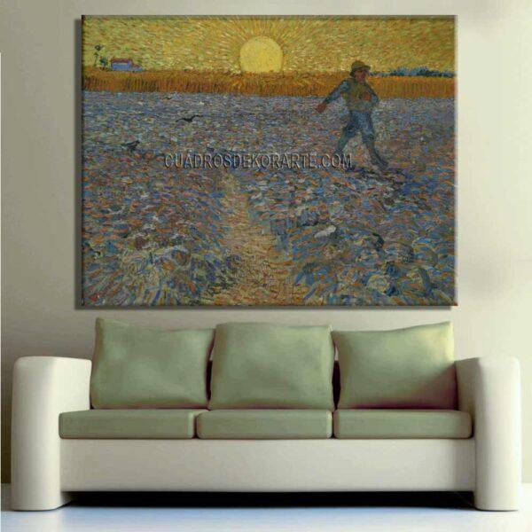 Copia de la pintura sembrador a la puesta del sol por la noche cuadro decorativo