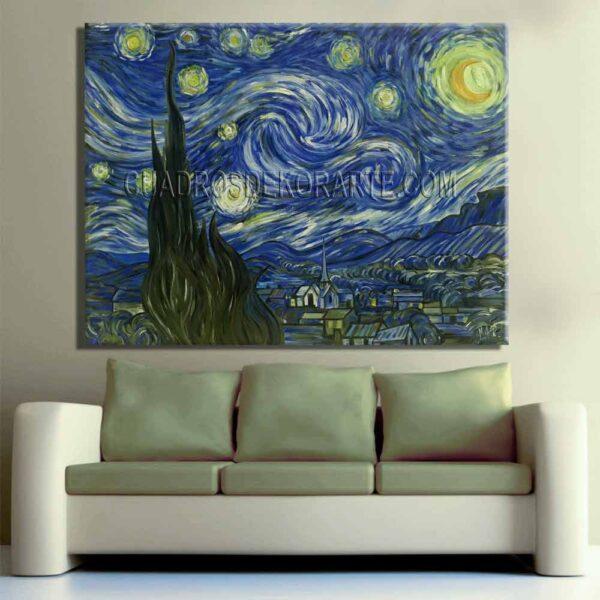 Copia de la pintura La noche estrellada por la noche cuadro decorativo