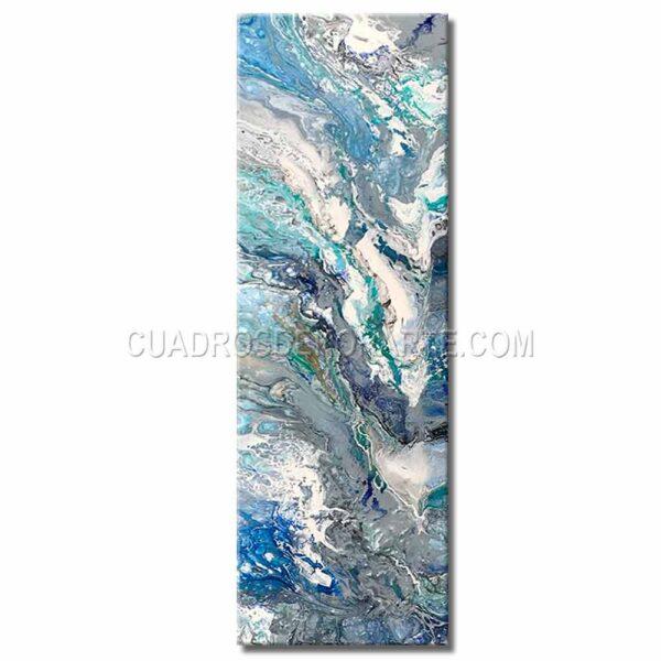 Cuadros decorativos mosaico acua colores blanco, gris, verde y azul