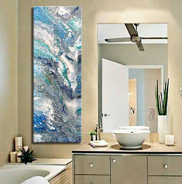 Cuadros decorativos para baño Mosaico Acua colores blanco, gris, verde y azul