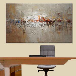 Pinturas abstractas para oficina Dalt colores gris y blanco