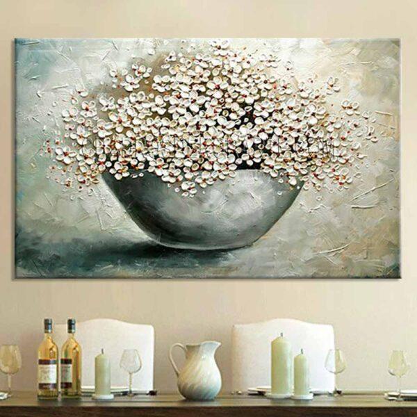 Cuadros modernos Canasto de flores para comedor o sala en colores gris y ocre