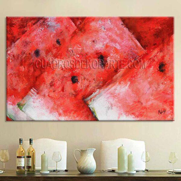 Cuadros decorativos para comedor Sandías estilo impresionista colores rojo y blanco